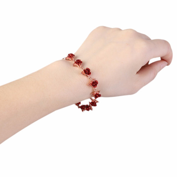 Hot Sale 2019  Bracelet Red Rose Flowers Gold Color Wrist Chain Valentine's Day Gift For Women Fashion Jewelry Bracelets