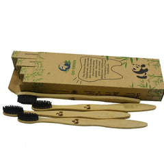 4pcs Biodegradable Eco-Friendly Natural Bamboo Charcoal Toothbrush Pack Of 4 ecofriendly compostable family pack