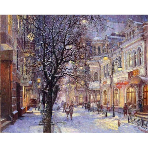 Diy digital oil painting calligraphy by numbers acrylic coloring picture by number wall canvas drawing snow winter