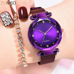 Temperament Women's Watches Ladies Milanese watch Wristband Quartz women's watch Magnetic buckle Montre femme Girls gift clock