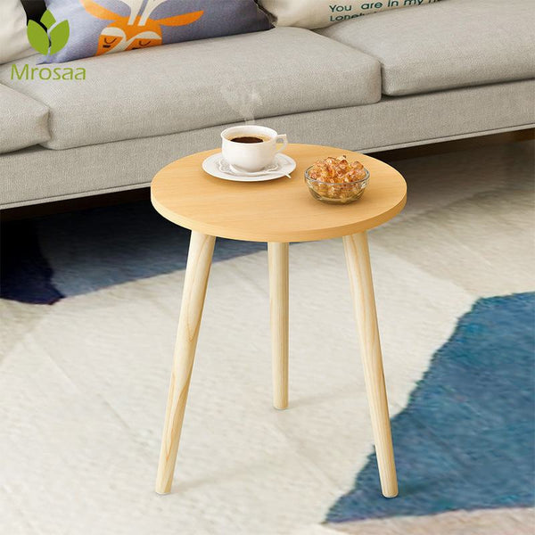 Mrosaa Tea Table End Table For Office Coffee Table Wooden Round Magazine Shelf Small Table Movable Bedroom Living Room Furniture