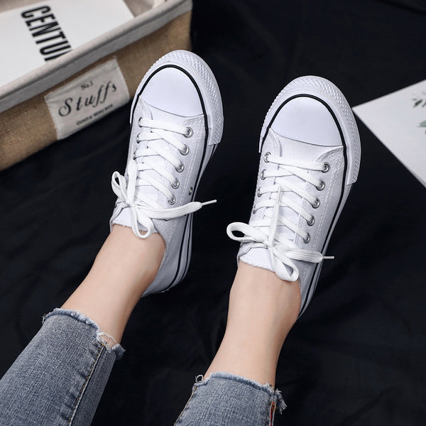 2019 Spring Women's Vulcanize Shoes Fashion Wild light Canvas flat Shoes Ladies Casual Low Lace-up Fashion Sneakers ST22