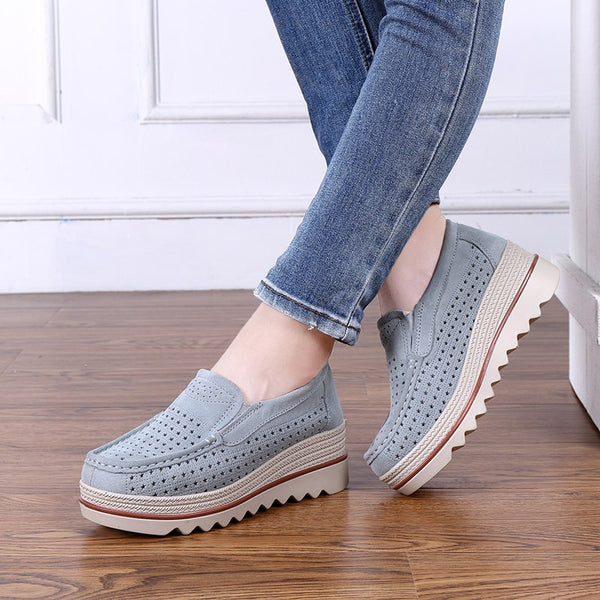 2019 summer new students hollow sports women's shoes Korean version cave casual rocking leather women casual shoes Yasilaiya