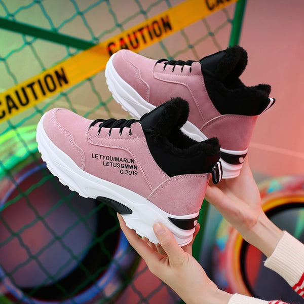 High Top Sneakers  Females Designer Women's Casual Shoes Non-Leather Winter Cold Protection  Add Cotton Outdoor Leisure Trainer