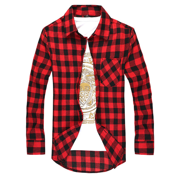 Men Plaid Shirt Camisas Social 2019 Autumn Men's Fashion Plaid Long-sleeved Shirt Male Button Down Casual Check Shirt