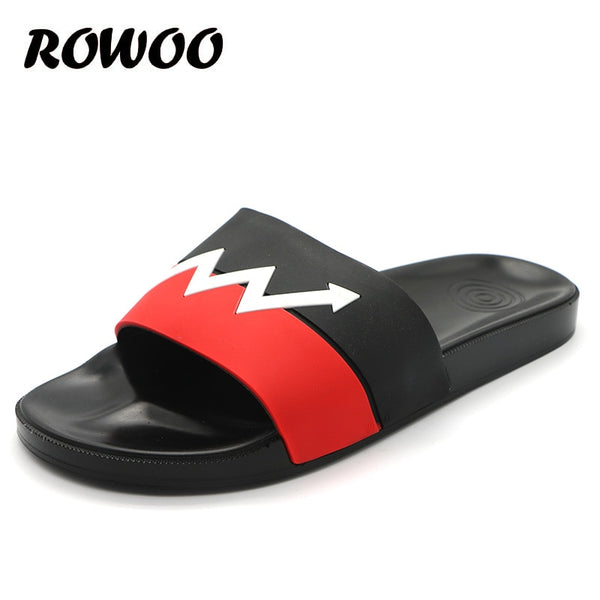 Men's Slippers Summer Flats 2019 Men's Shoes Breathable Beach Blue Black Brand Shower Sandals Shoes