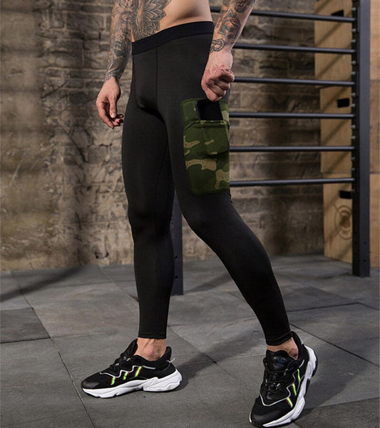 Men's Workout Pants Fitness Leggings Camoufalge Pockets Gym Compression Leg Man Bodybuilding  Trousers Joggers Sweatpants