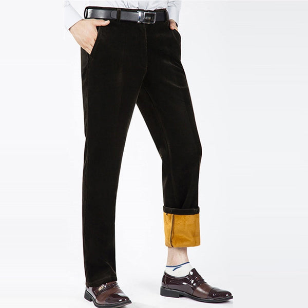 Winter Men's Corduroy pants Plus Velvet Thick section High waist Loose Stretch Corduroy Casual pants Warm Men's trousers