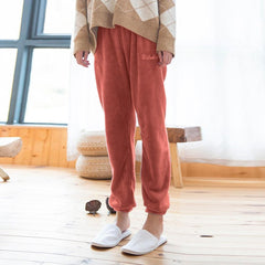 Women's New Style Pure Coral Velvet Household Sleepwear Trousers Comfortable Mid Waist Loose Pajama Pants For Ladies Winter
