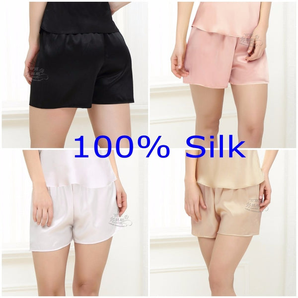 100% Pure Silk Women's Night Sleep Shorts Undershorts Sleepwear Leggings YM003