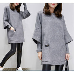 M-4XL Big Size Women's Long Loose Casual Hoodie blouse Tops Korean Autumn Sweatshirt Winter Outerwear Dress