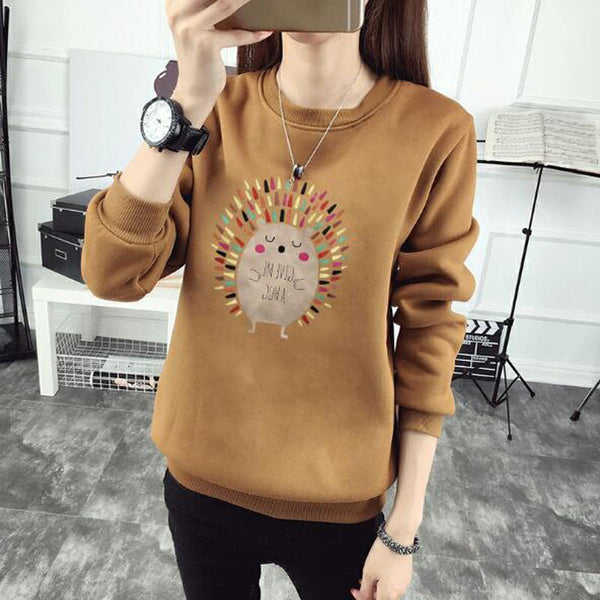 Cute Hedgehog Print Women Hoodie Spring Autumn Winter Long Sleeve Round Neck Women's Sweatshirt Thick Fleece Women Tracksuit
