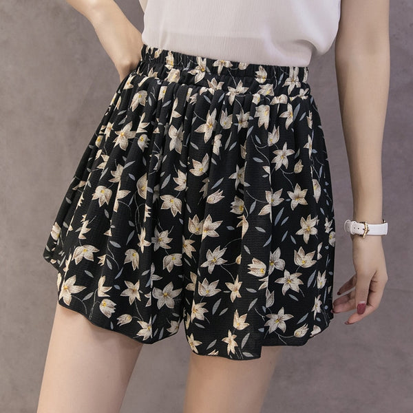 2019 Summer High Waist Shorts Women Spodenki Damskie Floral Printing Femme Pantalon Corto Mujer Casual Skirt Women's Shorts