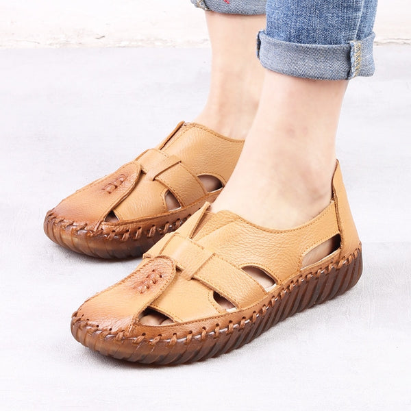 2019 Summer Women's Sandals Breathable Genuine Leather Handmade Ladies Shoe Leather Sandals Women Flats Retro Style Mother Shoes