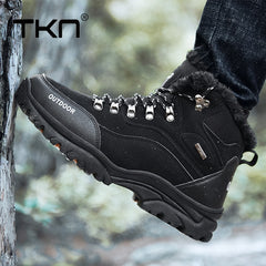 TKN Men Outdoor Hiking Shoes Winter Warm Men Mountain Climbing Trekking Sneakers Mens Waterproof Anti Skid Sport Boots 9055