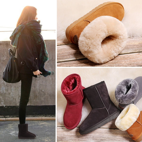 Women's Leather Snow Boots Female 2019 Winter New Tube Basic Waterproof and Warm Anti-skiing Cotton Shoes 5825