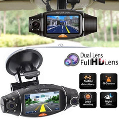 Vehicle GPS- R310 HD Car DVR Dual Camera Lens Night Vision Gravity Sensor Recorder with GPS