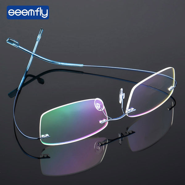 Seemfly Fashion Titanium Alloy Super Elastic Frameless Metal Spectacle Frame For Men and Women Ultralight  Eyeglasses Frame