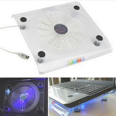 1PC USB Notebook Cooler Blue LED Light Heatsink Laptop PC Base Computer Cooling Pad Heat Dissipation Bracket Random Color
