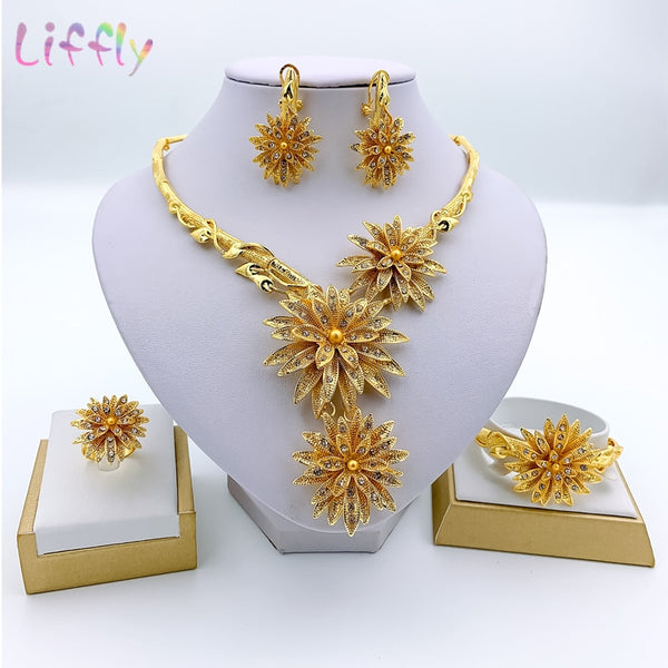Dubai Fashion Jewelry Sets Necklace Bracelet Flower Shape Pendant Earrings Ring Crystal Jewelry Dubai Bridal Wedding Jewelry