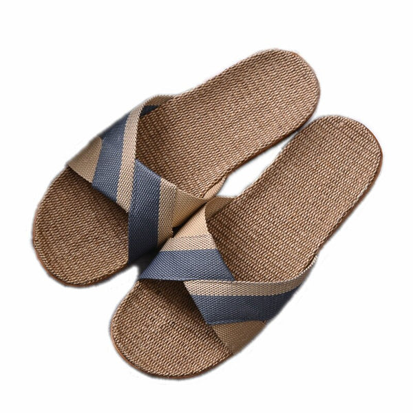 Dropshipping New Men's Summer Slippers Flats Breathable Linen Casual Sandals Home Bathroom Non-slip Flip Flops Indoor Pantufa