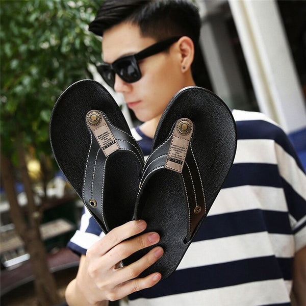 Fashion Men's Casual Flats Platform Flip Flops Antiskid Men Slippers Beach Shoes terlik kapcie Slides 40FE11