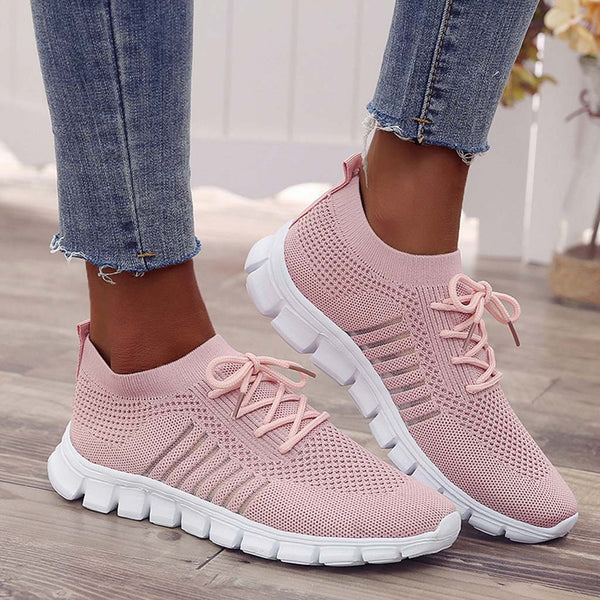 Women's Lightweight Breathable Mesh Weaving Socks Shoes Sneakers Casual Shoes Student Non-slip Walking 2019 Soft Running Shoe 40