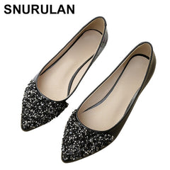 SNURULAN 2019 flat shoes; princess female ballet shoes; casual pumps with rhinestones; women's shoes with flat soles; large size