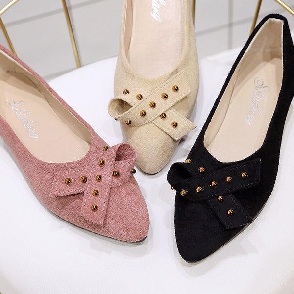 Women's Ballet Suede Flat Point Toe Pumps Loafers Slip On Casual Office Shoes Peas Shoes Soft Women Flat Shoes Single Shoes
