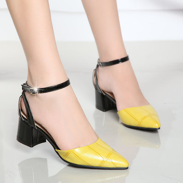 Summer 2019 New Women Point Toe Sandals Medium Heel Belt Ankle Strap Fashion Rough Heeled Women's Yellow Shoes