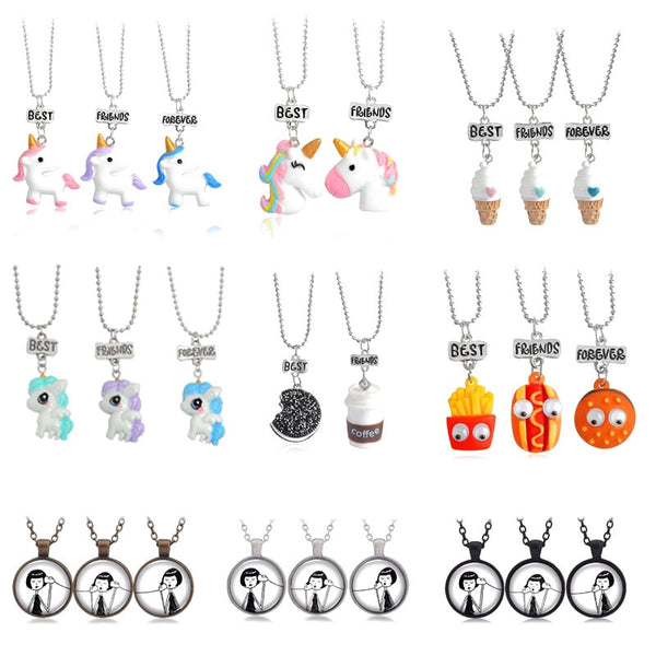 2020 New 3 pcs / set of Best Friends Cute Resin Pendant Necklace Ladies Women Unicorn Milk Biscuit Necklace BFF Couple Jewelry