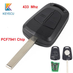 KEYECU 433MHz PCF7941 Chip Replacement Remote Car Key Fob 2 Button for Opel Corsa Astra Meriva Vectra Zafira