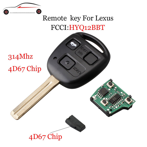 GORBIN Brand 314Mhz Remote Car key For Lexus HYQ12BBT 3Buttons Transponder Chip 4D67 For LEXUS LS430 ES330 SC430 Original key