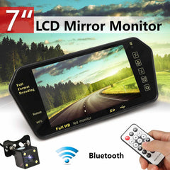 Car 7 Inch Rear View LED Display bluetooth With LED Low Light Night Vision Rearview Mirror Monitor Night Vision Reversing Camera