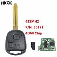 2 Buttons 433Mhz Car Remote key For Toyota Avensis Kluger Prado120 Tarago RAV4 Replacement Remote Control Key 4D68 Chip