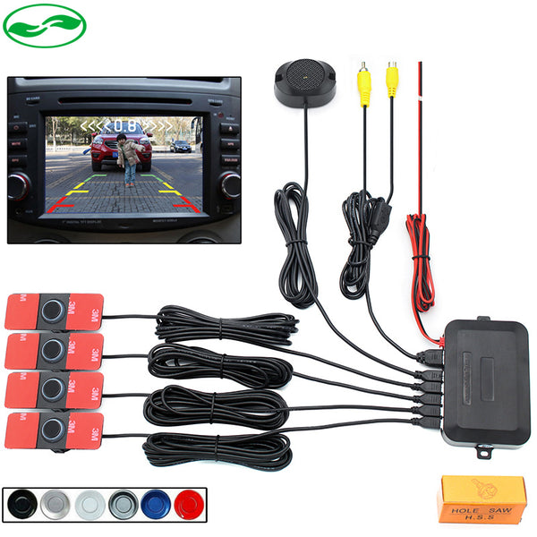 16mm Flat Sensors Dual Core Video Parking Sensor Backup Radar Alarm System, Display Image and Sound Alert For Car Monitor