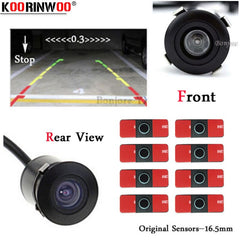 Koorinwoo Visible CCD Car Video System Parking Sensors 16.5mm Flat Radars With Front camera Rearview 18.5 Round Black White Grey