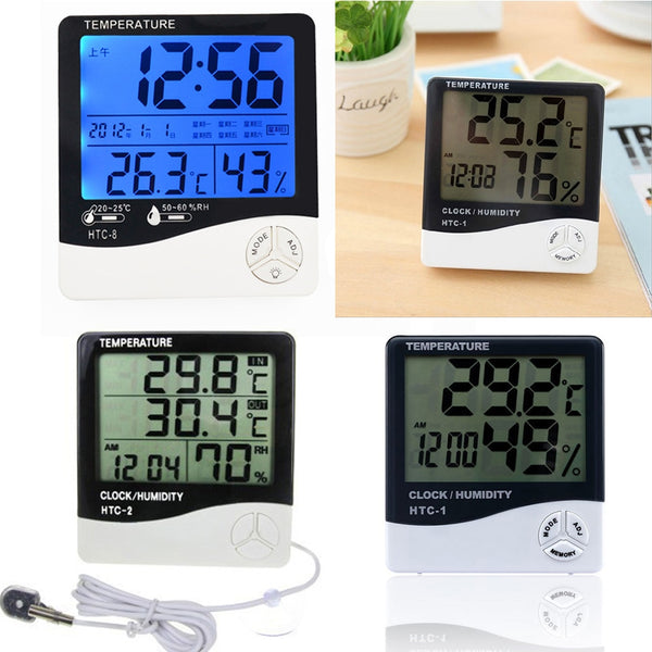 -8 Digital Thermometer Hygrometer Indoor Outdoor With LCD Display Temperature Humidity Meter Weather Station Alarm Clock