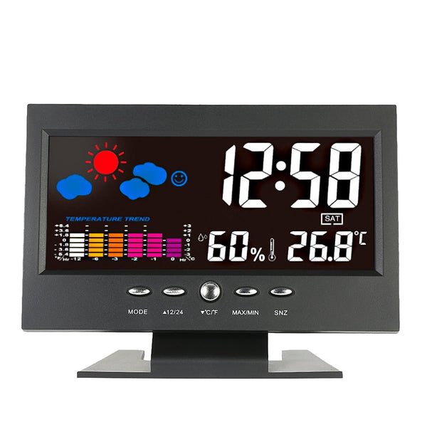 LCD Indoor Digital Thermometer Hygrometer Alarm Clock Calendar Weather Station Desk Clock Temperature Humidity Meter Barometer
