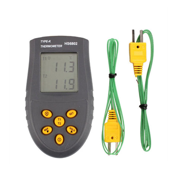 Contact Thermometer Digital Dual Two Channel K-Type Thermocouple Thermodetector Pyrometer HS6802 Surface Temperature Meter Gun