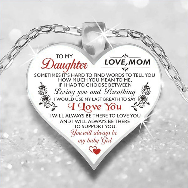 To My Daughter Love Heart Necklace Pendant Necklaces Silver Chain For My Daughter My Wife Women Girls Jewelry Family Gifts