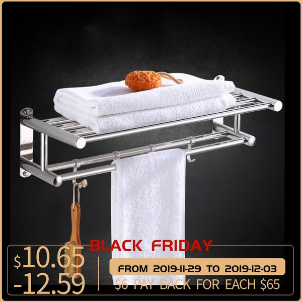 Stainless Steel Bathroom Towel Holder Organizer Wall-mounted Towel Rack Home Hotel Wall Shelf  Quality 40/50/60CM