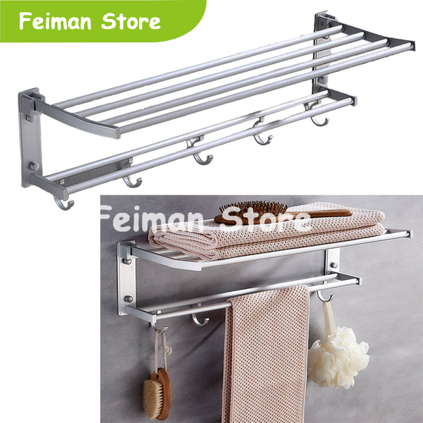 High Qulaity Stainless Steel Storage Racks Shelf Foldable Towel Holder Mounted New Organizer Hook Wall Clothes Bathroom Shelf