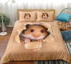 Hamster Bedding Set Papery Printing Duvet Cover 3D Vivid Brown Mouse Bed Lovely Kids Home Textiles 3pcs