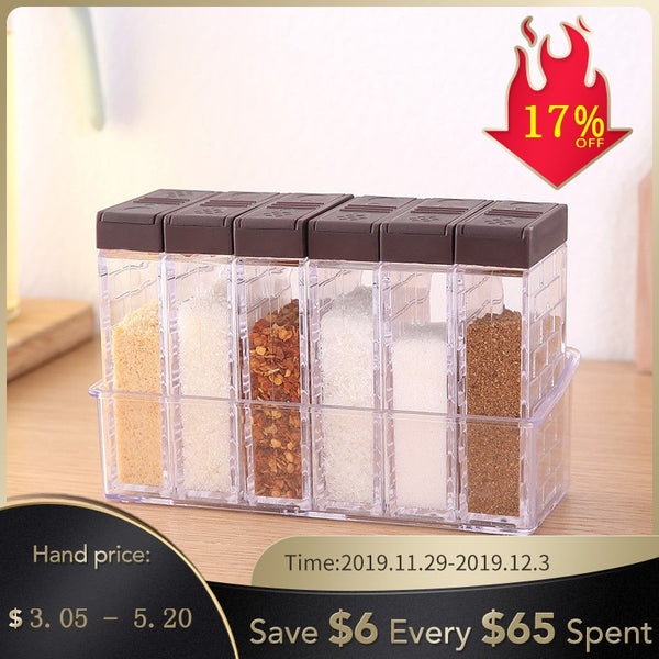 Kitchen Tool Seasoning Bottles Jars Boxes Plastic Spice Lid Can Sugar Layers Storage Organizer Box Home Organization Accessories