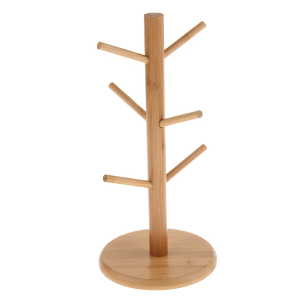 Bamboo Mug Tree Kitchen Storage Organiser Rack Tea Cup Stand Display Holder Wood Mug Detachable Mug Tree Kitchen Organization