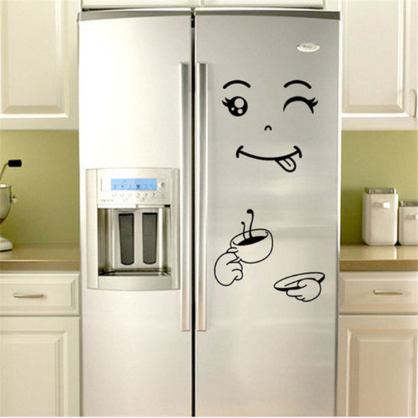 1sheet  Kitchen Accessories Creative Kitchen Cartoon Fridge Sticker Smiley Refrigerator Sticker Kitchen Gadgets-S