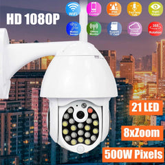 GUUDGO 21 LED IP Camera 8X Zoom WiFi Dome Full Color Night Vision IP66 Waterproof Pan/Tilt Rotati Security Surveillance Camera