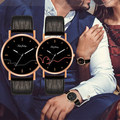 WJ-8733 Fashion Couple Watch Casual Leather Strap Wristwatch For Man Women Watches Simple Classic Lover's Wrist Watches Quartz