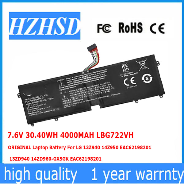 7.6V 30.40WH 4000MAH LBG722VH ORIGINAL Laptop Battery For LG 13Z940 14Z950 EAC62198201 13ZD940 14ZD960-GX5GK EAC621982